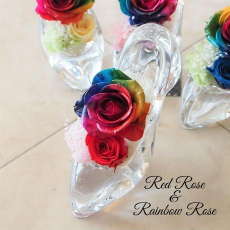 プリザーブドフラワー レインボーローズ ガラスの靴 4color 願いが叶う靴 誕生日 プロポーズ 母の日 ブライダル 結婚式 リングピロー ギフト 贈り物