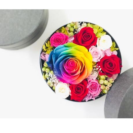 【送料無料】プリザーブドフラワー レインボーローズ フラワーボックス~ Flowerbox Rainbow jewelry Red~