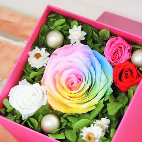 【送料無料】プリザーブドフラワーレインボーローズパステルボックス~ホットピンク~