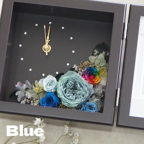 【名入れ】プリザーブドフラワー レインボーローズ ピクチャー クロック フォトフレーム BLUE 敬老の日 フラワーギフト 誕生日 贈呈品 結婚式 両親への贈り物 退職祝