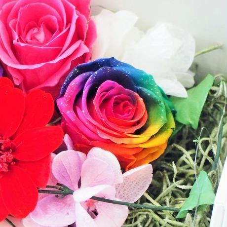 【送料無料】プリザーブドフラワー フォトフレーム レインボーローズ スタンドフォト パープル L判サイズ 誕生日 敬老の日 プレゼント 花 女性 母 祖母 お祝い