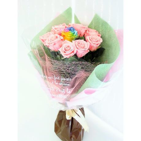 【送料無料】プリザーブドフラワー レインボーローズ・ピンクローズの花束~11本~最愛~