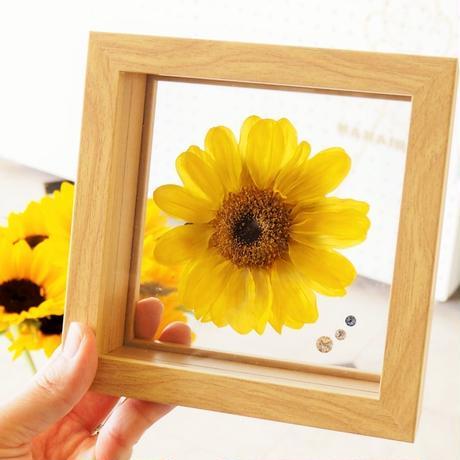 【名入れ】ひまわり プリザーブドフラワー sunflower フラワーギフト 向日葵 フラワーギフト 誕生石のモチーフクリスタルアクセサリー付き