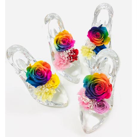 【送料無料】プリザーブドフラワー レインボーローズ ガラスの靴 5color 願いが叶う靴 誕生日 プロポーズ 母の日 ブライダル 結婚式 リングピロー ギフト 贈り物
