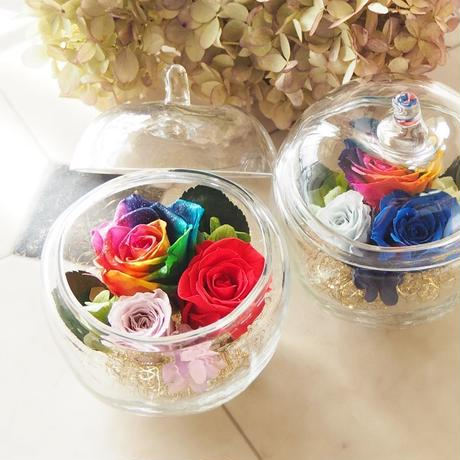 【名入れ】【送料無料】プリザーブドフラワー レインボーローズ  Poison Clear リンゴガラス ブルー メッセージ可能 レッド ブルー 誕生日 母の日 ブライダル 贈呈品