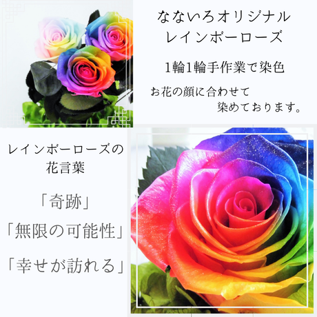 【名入れ】プリザーブドフラワー レインボーローズ ベビーシューズ 5Collar 赤 黄色 緑 青 紫 出産祝い 誕生日 お祝い 名前をお入れして特別な贈り物に