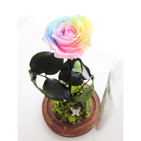 【名入れ】【送料無料】プリザーブドフラワー レインボーローズ ''Rainbow Dome'' ガラスドーム レインボーローズ茎までプリザーブドフラワー  :パステル: