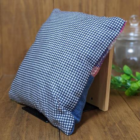 さをり織りのちいさなクッション 【デニム】
