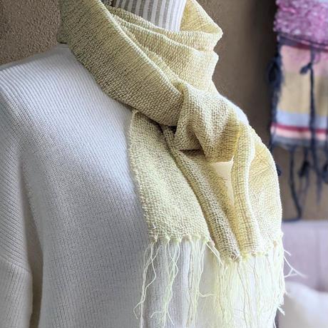 さをり織りのマフラー【レース糸:黄色】
