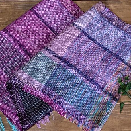 さをり織りのマフラー【ピンク、綿、ロングサイズ】