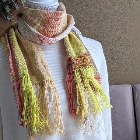 さをり織りのマフラー【黄色、綿、ショートサイズ】