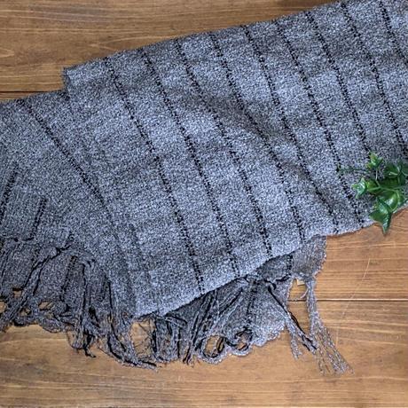 さをり織りのストール【グレー】