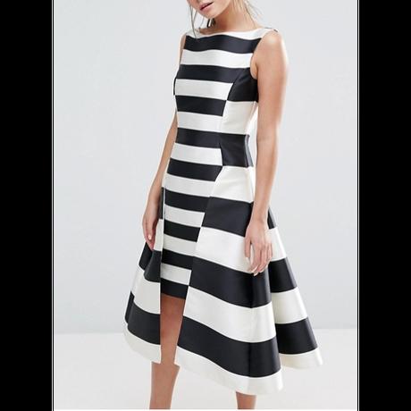 Premium Satian Dramatic Stripe Dress (プレミアムシリーズ ・ドラマティックストライプワンピース)