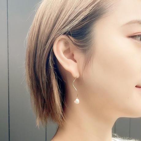 【数量限定】Heart Akoya Wave Earrings #3