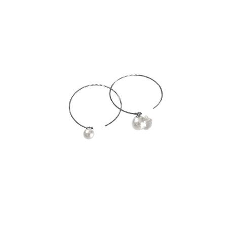 #46-2 百花 Superior Goldfish Pearl Hoop Earrings Large