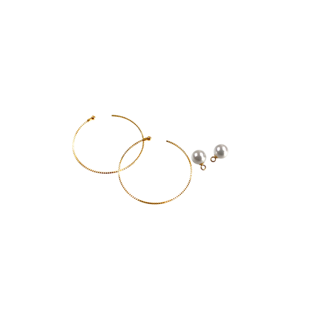 #15 冬花  Akoya Hoop Earrings large