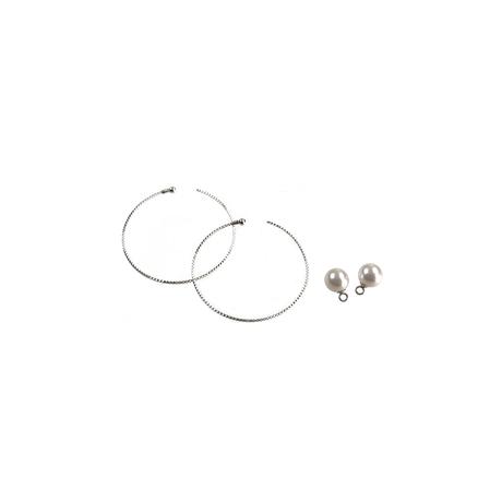 #14 冬花  Akoya Hoop Earrings large