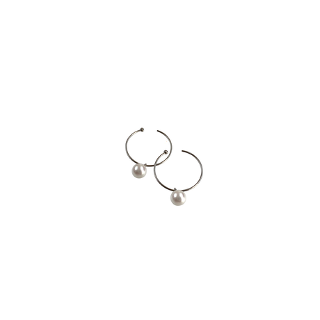 #12 冬花  Akoya Hoop Earrings small
