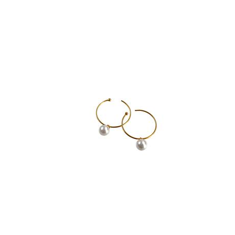 #13 冬花  Akoya Hoop Earrings small