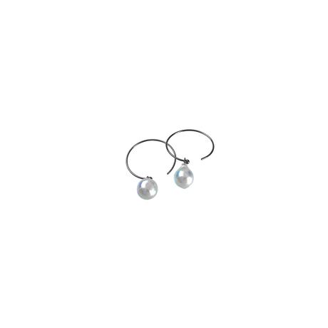 #45-2 百花 Coloful Akoya Pearl Hoop Earrings Small