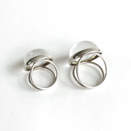【受注商品】Dome ring S〈Crystal/Amber〉