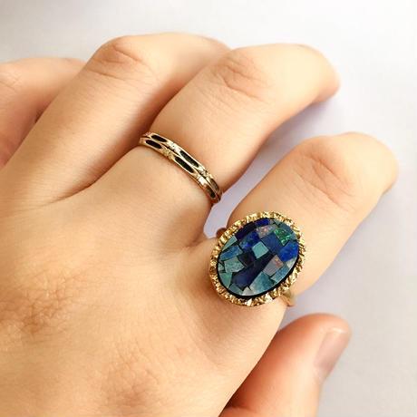 Mosaic opal ring Gold