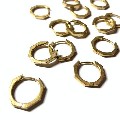 Brass hoop pierce Octagon (Set) [K18PD]
