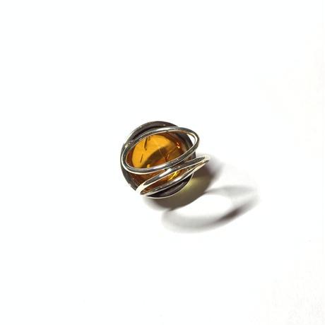 【受注商品】Dome ring L〈Crystal/Amber〉