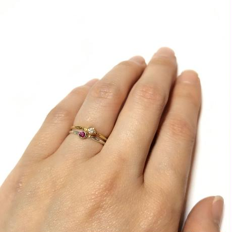 【受注商品】K18 Birthday stone pattern ring