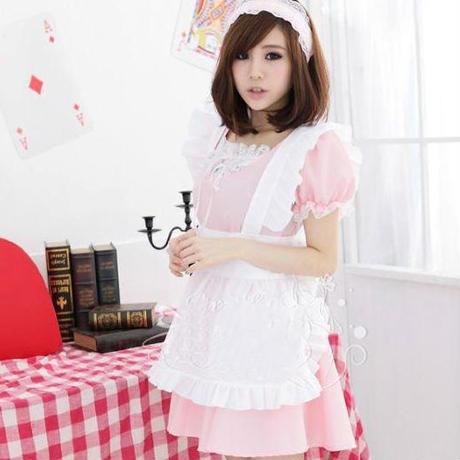 定番メイド服(ピンク)(カチューシャ&手袋付き)