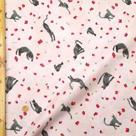 〈50cm単位販売〉【スケアークロス】黒猫さん柄  約108cm幅 綿100%