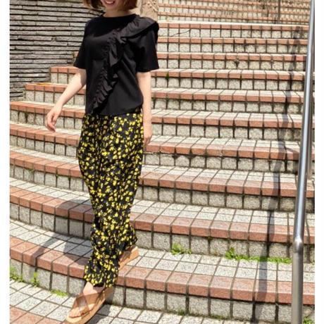 フリル半袖Tシャツ 黒ブラック グリーン