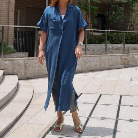 開襟半袖シャツワンピース ブルー