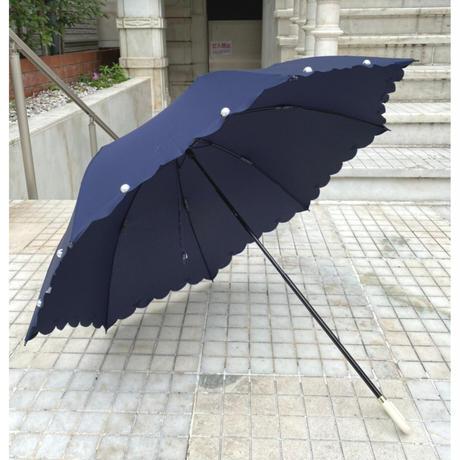 晴雨兼用折り畳み傘 スカラップパール ネイビー紺 ブラック黒