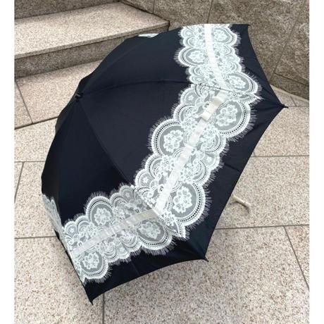 晴雨兼用折り畳み傘 プリントレース&リボン ピンク ネイビー ブラック黒