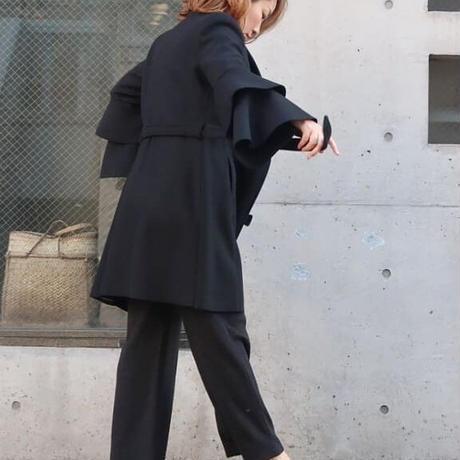 【再値下げ!】ティアードフリルスリーブコート グレー ブラック黒