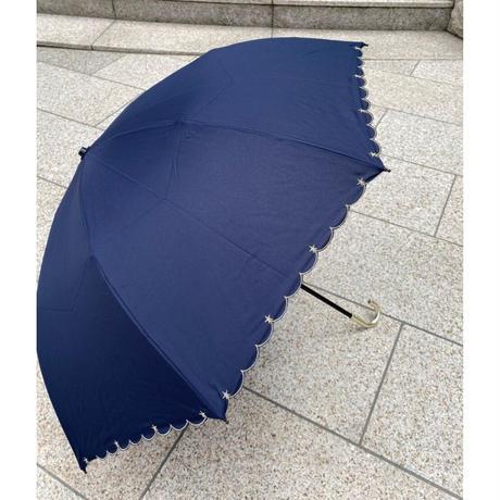 晴雨兼用折り畳み傘 スカラップスター ネイビー紺 ブラック黒