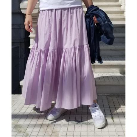 コットン二段ティアードスカート ピンク