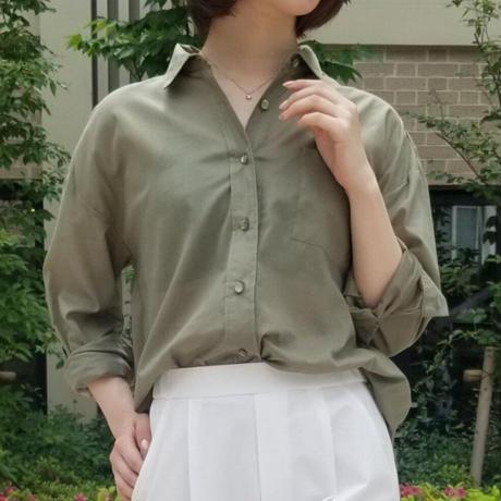 コットンボイルシャツ カーキ