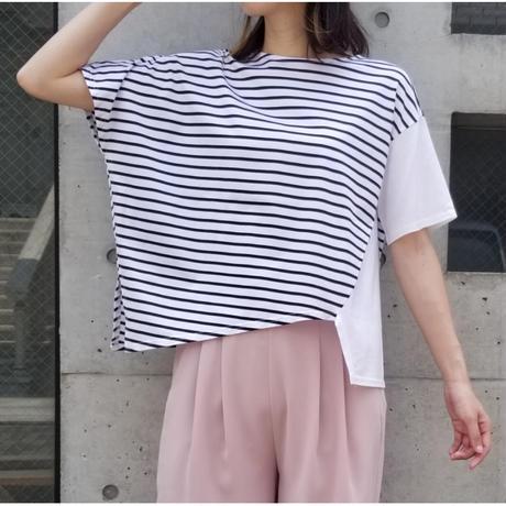 アシンメトリーボーダーTシャツ 白×黒