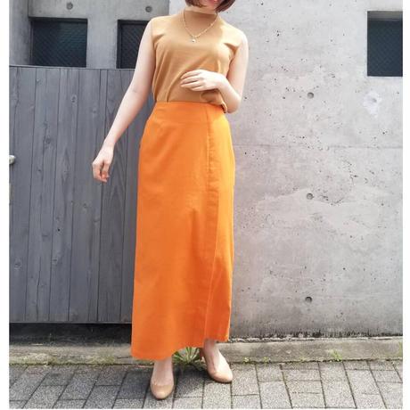リネンロングIラインタイトスカート オレンジ ブラウン