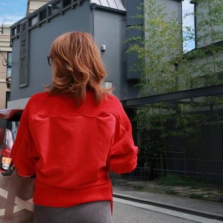 ワッフル編みドッキングトレーナー 赤レッド 杢グレー