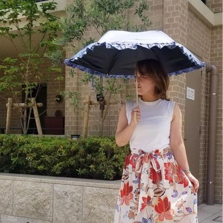 完全遮光!晴雨兼用折り畳み傘 デニムフリル ライトブルー ネイビー紺