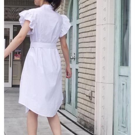 刺繍フリルコットンワンピース 白ホワイト