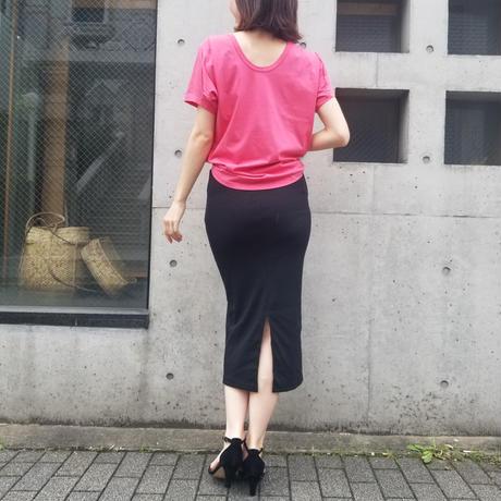 日本製背中開きコットンTシャツ ピンク