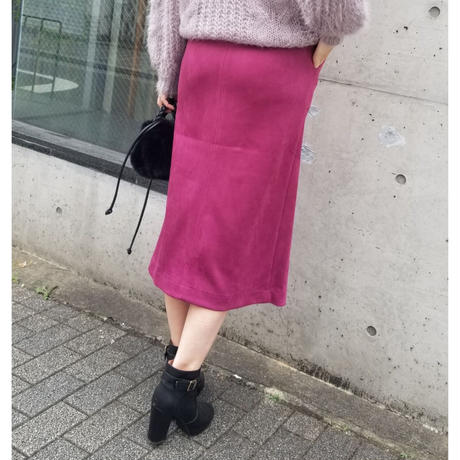 スエードポンチタイトスカート パープル マスタード