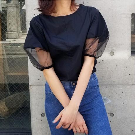 袖シースルーTシャツ 黒ブラック
