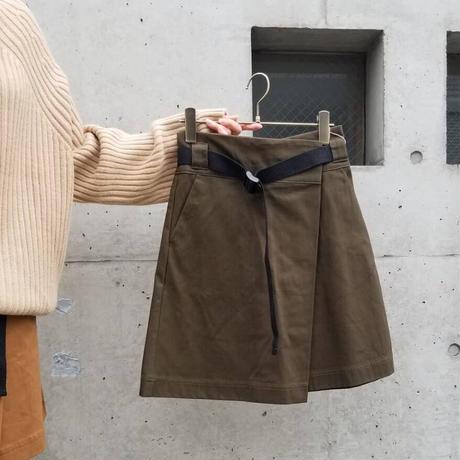 ベルト付台形ミニスカート キャメル カーキ