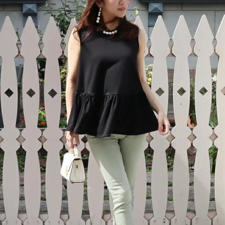 パールノースリーブトップス 白ホワイト ミントグリーン コーラルピンク 黒ブラック