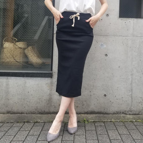 コットンリブIラインタイトスカート 黒ブラック